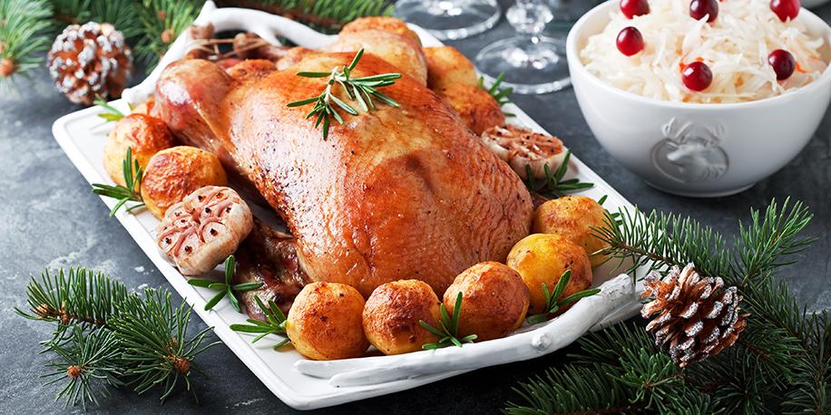 Christmas smoked goose with baked potatoes