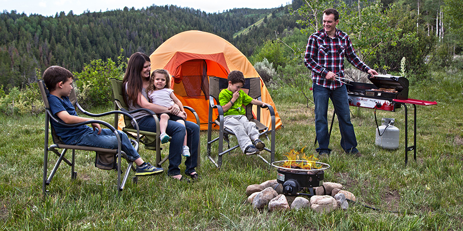 Family around fire pit