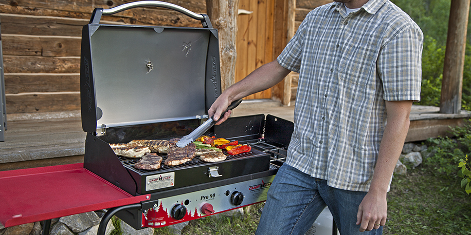 Barbecuing on a Pro 90 triple burner stove