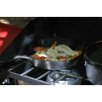 skillet on Camp Chef stove